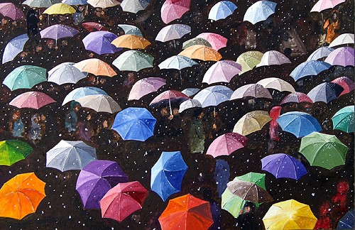 Umbrellas in the Snow